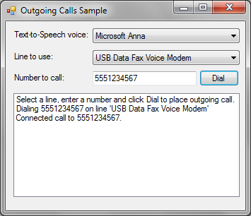 AddTapi.NET Sample - Outgoing Calls